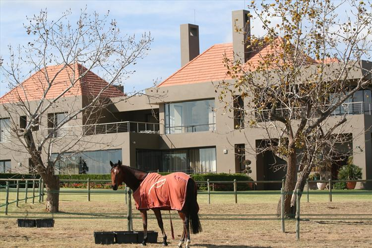 Majestic volumes and direct lines set this modern equestrian manor home apart from the country side where horses are at play.